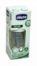 Chicco Well-Being - Nature Glass - cumisüveg - 150 ml - 1 lyukú - szilikon normál folyású cumival - 04000