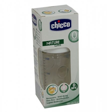 Chicco Well-Being Nature Glass - 150 ml üveg cumisüveg szilikon cumis - 04109