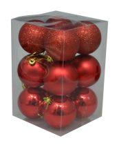 Karácsonyi gömb, 6 cm, 12 db piros - 70836