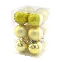 Karácsonyi gömb, 6 cm, 12 db arany - 70837