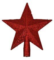 Karácsonyfa csúcsdísz, csillag, piros - 70857