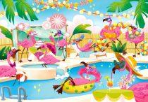 Clementoni puzzle csomag - flamingók - 104 darabos - 02123