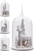 Karácsonyi üveg dísz - akasztós - 11 cm - 21043
