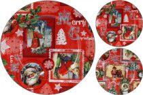 Műanyag tálca - kerek - karácsonyi - 33 cm - 21244