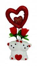 Macik + szív dobozban - dísztárgy Valentin napra - 32624