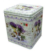 Süteményes doboz - fém - levendulás - 70396