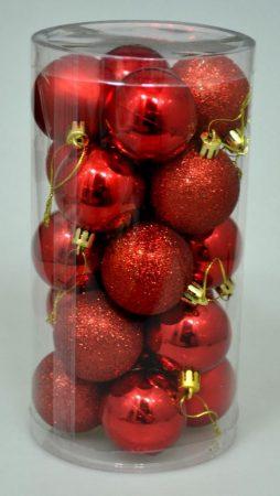 Karácsonyi gömb - 4 cm - 20 db - piros - 70828