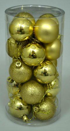 Karácsonyi gömb, 4 cm, 20 db, arany - 70829