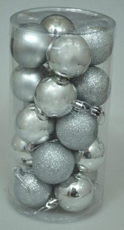 Karácsonyi gömb, 4 cm, 20 db, ezüst - 70830