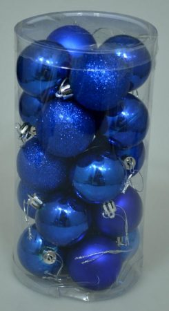 Karácsonyi gömb, 4 cm, 20 db, kék - 70831
