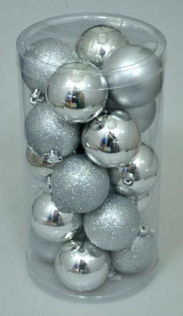 Karácsonyi gömb, 6 cm, 20 db, ezüst - 70834