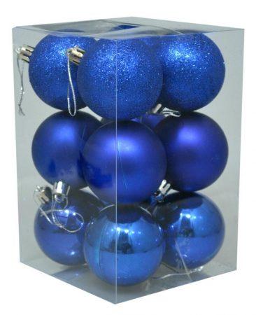 Karácsonyi gömb, 6 cm, 12 db kék - 70839