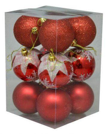 Karácsonyi gömb, 6 cm, 12 db piros - 70840