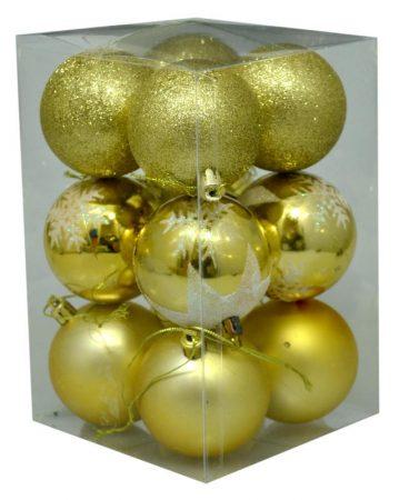Karácsonyi gömb, 6 cm, 12 db arany - 70841