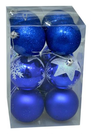 Karácsonyi gömb, 6 cm, 12 db kék - 70843