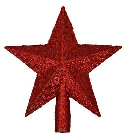 Karácsonyfa csúcsdísz - csillag - piros - 70857