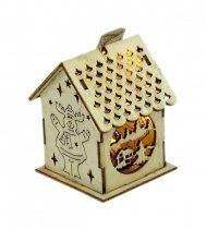 Karácsonyi házikó fából - világítós - 71726