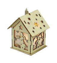 Karácsonyi házikó fából - világítós - 71727