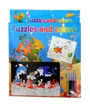 Kiszínezős puzzle szett - 5 db filctollal - kirakós játék - 71811